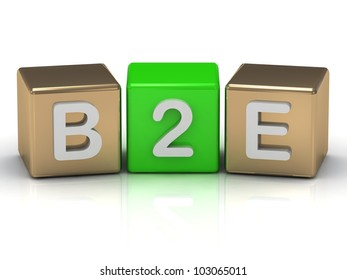 B2E Business to Employee symbol on gold and green cubes on white background