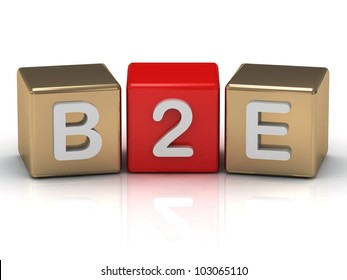 B2E Business to Employee symbol on gold and red cubes on white background