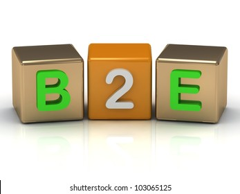 B2E Business to Employee symbol on gold and orange cubes on white background