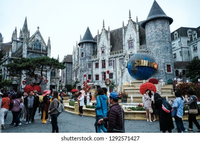 Ba Na Hill Danang/Vietnam 8th Jan, 2019 : Ba Na Hill french village Castle in the Sky  features a 19th century European village, people traveling for holiday