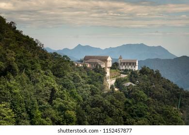 Ba Na Hill Resort, Danang, Vietnam - July 5, 2018: Landscape of castles at Ba na Hill mountain resort in Da nang Vietnam. Ba Na Hill mountain resort is a favorite destination for many tourists