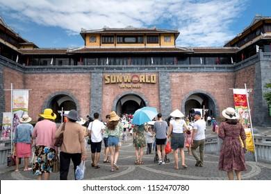 Ba Na Hill Resort, Danang, Vietnam - July 5, 2018: The main entrance to BaNa Hill. Many tourists visit Ba Na Hill mountain resort. BaNa Hill mountain resort is a favorite destination for many tourists