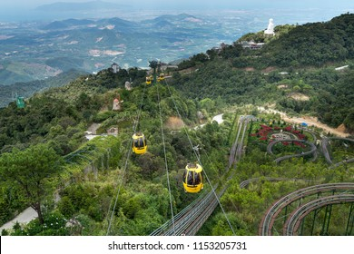 Ba Na Hill Resort, Danang, Vietnam - July 5, 2018: Many tourists come to visit Ba Na Hills by cable car. Ba Na Hill mountain resort is a favorite destination for many tourists