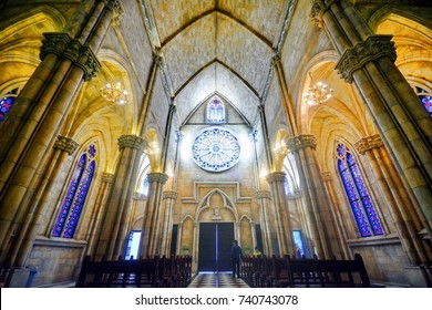 Ba Na hills ,Da Nang -October 22,2017 :  Tourist come to visit Church at Ba Na Hills Resort ,an unique architectural work of ancient French villages.