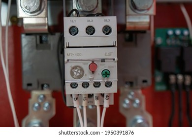 Ba Ria Vung Tau, Vietnam - April 01 2021: control switches and electrical switches in the electrical cabinet of the fire pump room