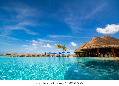 BAA ATOLL, MALDIVES - NOV 7, 2019: A bar under a round Maldivian style house next to an infinite pool with water villas in the background
