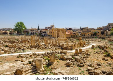 Baalbek Ancient city in Lebanon.Columns.Heliopolis temple complex.near the border with Syria.