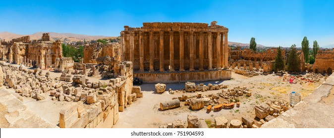Baalbek Ancient city in Lebanon.Heliopolis temple complex.near the border with Syria.Panorama.remains