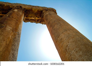 Baalbek, Baalbek-Hermel Governorate, Lebanon - 4.7.2004 The massive columns of the Temple of Jupiter in the Baalbek Roman Temples ancient site, formerly Heliopolis.
