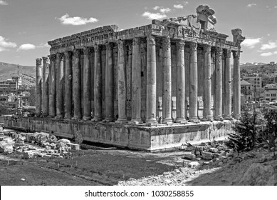 Baalbek, Baalbek-Hermel Governorate, Lebanon - 4.7.2004 Black and white photograph of the Temple of Bacchus, Roman God of Wine and Bacchanalia at the Baalbek Roman Temples site in the Beqaa Valley.