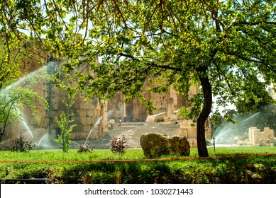 Baalbek, Baalbek-Hermel Governorate, Lebanon - 4.7.2004 Modern gardens being watered, in front of the massive gateway to the Temple of Bacchus, one of the many temples at  Baalbek in the Beqaa Valley.