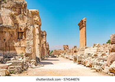 Baalbek in Beqaa Valley, Lebanon. Baalbek is located about 85 km northeast of Beirut and about 75 km north of Damascus. It has led to its designation as a UNESCO World Heritage Site in 1984.