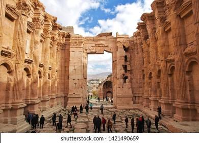 Baalbek, Lebanon - 31 Dec 2017. Ancient ruins of Baalbek, Lebanon