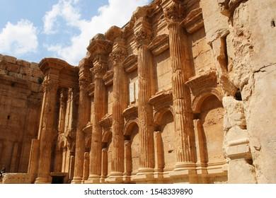 BAALBEK, LEBANON - 4 APRIL 2019 - The Temple of Bacchus. The ruins of the Roman city of Heliopolis or Baalbek in the Beqaa Valley, Baalbek, Lebanon.
