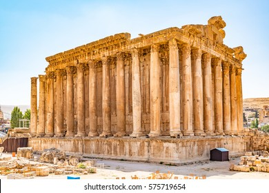 BAALBEK, LEBANON - August 14, 2016: Temple of Bacchus at Baalbek in Lebanon. It is located about 85 km northeast of Beirut and about 75 km north of Damascus.