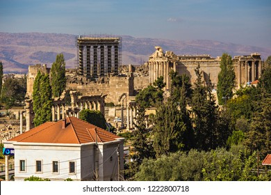 BAALBEK, LEBANON - October 2018: View of Baalbek town with old Roman ruins on the background, Lebanon