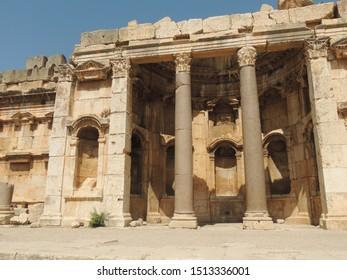 BAALBEK, LEBANON - SEP 01, 2018: Roman temple ruins in Baalbek, Lebanon on Sep 01th, 2018