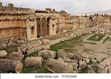 Baalbek - ruins of The Great Court of the ancient Phoenician city with range of mountains at the background