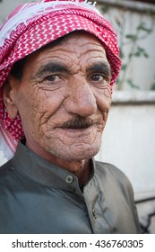 Baalbek, Syria, September, 2009: Portrait of Syrian Bedouin with turban.