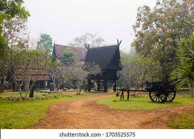 Baan Dam - the Black House and Black Temple in Chiang Rai - tourist destination in the North Thailand. Mystical art museum in Chiang Rai. Horizontal colorful image
