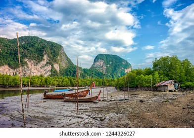 Baan Hin Rom village with longtail boats to serve tourists. Another view that was seen from the view point overlooking the sea and Khao Pra aad .Samet Nang Chee,Phangnga,Thailand 24 Apri 2018