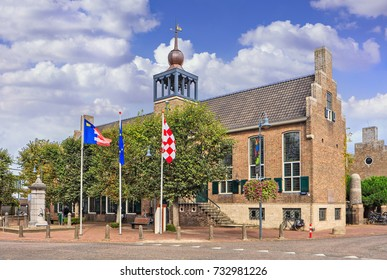 BAARLE-NASSAU-OCT. 4, 2017. Town hall Dutch Baarle-Nassau which has a remarkably fragmented border line with Belgium Baarle-Hertog, which consists of 26 separate bits of land inside the Dutch border.