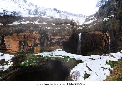 Baatara gorge waterfall, near Tannourine, Lebanon drops 250m through sinkholes and rock bridges.