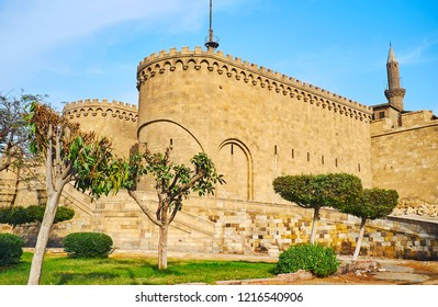 Bab Al-Azab Gate is one of the most beautiful fortifications of Saladin Citadel, facing the square of Salah El-Deen (Saladin) and surrounded by ornamental garden, Cairo, Egypt.