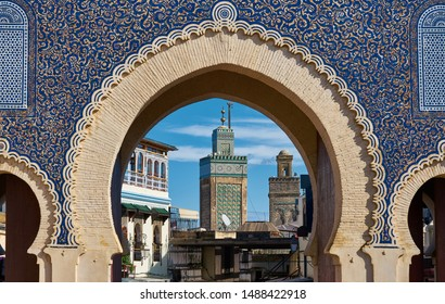 Bab Bou Jeloud, ornate city gate of Fes el Bali, the old city of Fez, Morocco