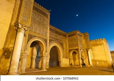 Bab Jama en Nouar medina wall door at Meknes, Morocco