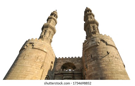 Bab Zuweila isolated on white background. It is one of three remaining gates in the walls of the Old City of Cairo, the capital of Egypt.