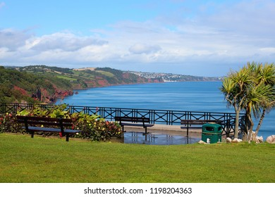 Babbacombe Bay seen from the cliff top looking along the coast towards Dawlish, Exmouth and the River Exe. Babbacombe, that is part of Torquay is a favourite place for tourism.