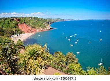Babbacombe beach in Torquay, Devon coast, United Kingdom, view from above