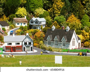 BABBACOMBE, ENGLAND - MAY 2. Opened in 1963 by Tom Dobbins, Babbacombe Model Village is a miniature village and railway located in Babbacombe in Torquay, Devon, in Babbacombe, England, May 2, 2012