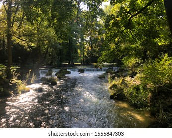 Babbling brook with calm greenery