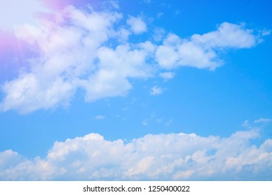 Babckground of clear blue sky with cloud in the morning with sun rise
