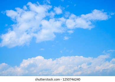 Babckground of clear blue sky with cloud in the morning