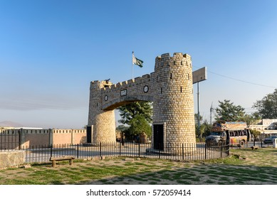 Bab-e-Khyber is the landmark at the end of Khyber pass near Peshawar, Pakistan.