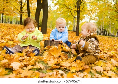 Babies playing with chestnuts in the autumn park