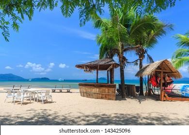 Baboo bar on white snad beach at tropical island, Koh Payam, Thailand