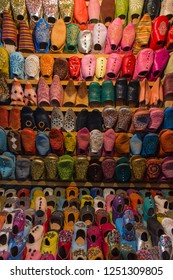 Babouches (slippers) on souk in Marrakesh, Morocco
