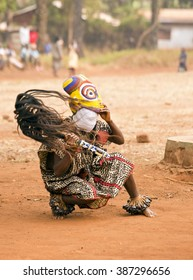 BABUNGO - CAMEROON / 18.01.2015: Traditional African dance at the Babungo Kingdom in Cameroon, ritual and ceremonial masks are an essential feature of the traditional culture of the peoples