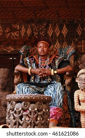 BABUNGO KINGDOM - CAMEROON / 18.01.2015: H.M. Fon Zofon III, King of Babungo Kingdom in his throne, Cameroon