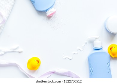 baby accessories for bath with duck on white background