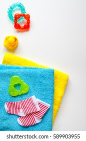 baby accessories for bath on white background