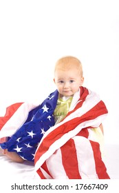 Baby and American Flag Portrait