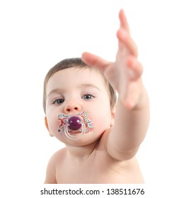 Baby asking for attention isolated on a white background