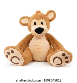 Baby Bear Plush Toy Isolated on White. Front View of Seated Brown Toddler Soft Plushies Seated Toy Bear Sitting on the Floor. 34 Inch Stuffed Teddy Bear. Fabric Stuffed Toys or Stuffies. Cuddle Buddy