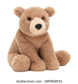 Baby Bear Plush Toy Isolated on White. Seated Brown Toddler Soft Plushies Seated Toy Bear Sitting on Floor Side Front View. 34 Inch Stuffed Teddy Bear. Fabric Stuffed Toys or Stuffies. Cuddle Buddy