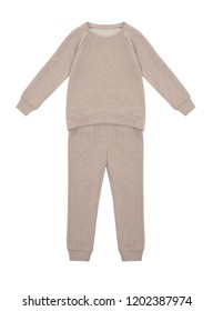 Baby beautiful set, sporty suit, pajamas, pants and jacket with long sleeves, beige, layout, clipping, isolated on white background, ghost mannequin, blank